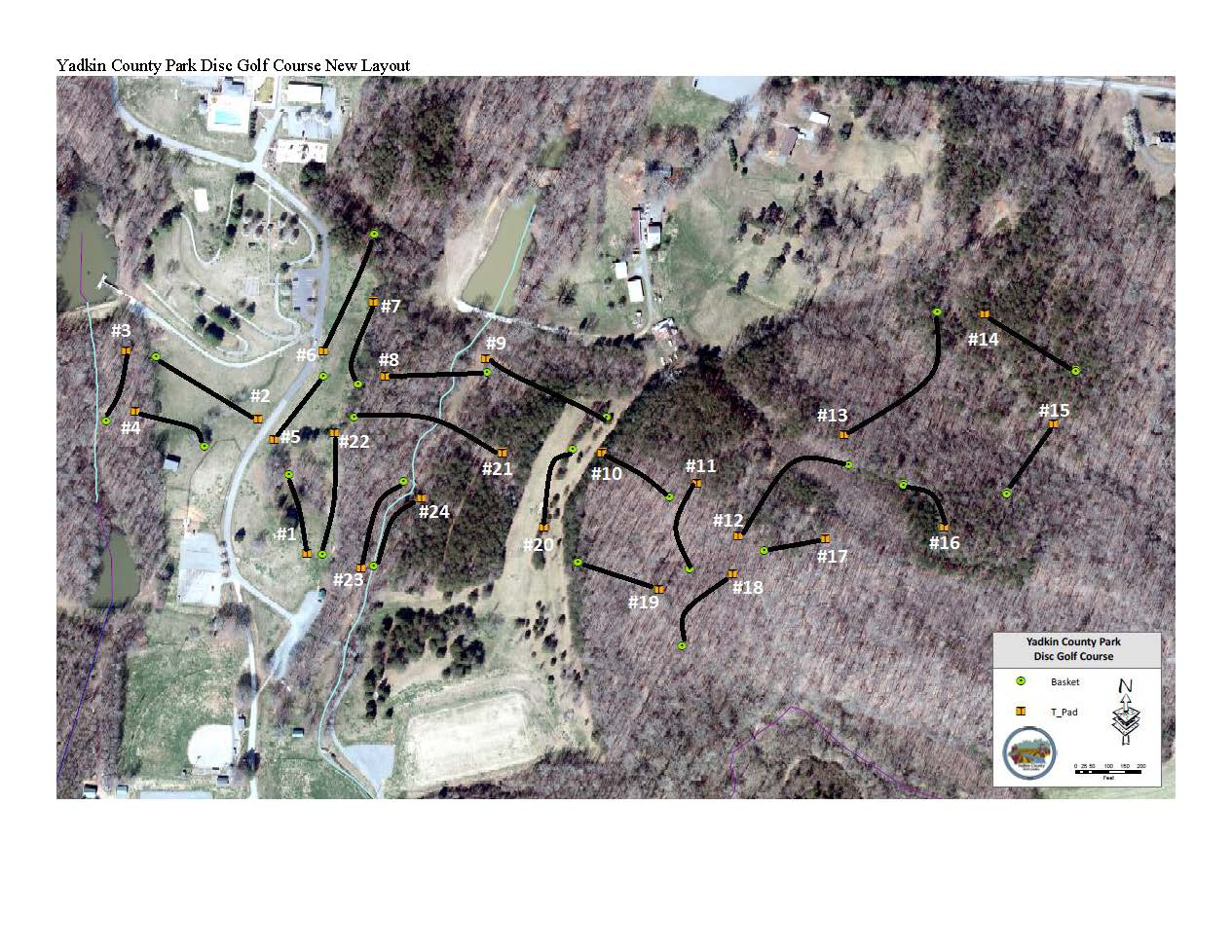 Yadkin County Park Disc Golf Course New Layout